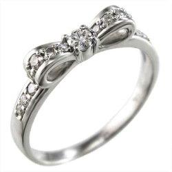リボン指輪天然ダイヤモンド約0.28ct10kゴールド(ホワイトゴールドイエローゴールドピンクゴールド)【_包装】【送料無料】