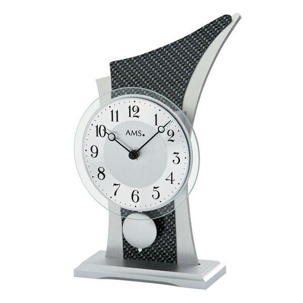 【正規輸入品】ドイツ アームス AMS 1140 クオーツ置き時計 振り子つき カーボンブラック:時計のソフィアス