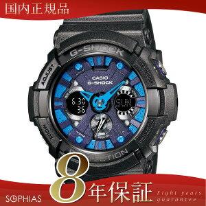 カシオGショック腕時計GA-200SH-2AJFメタリックカラーズシリーズブラック×ブルークオーツ