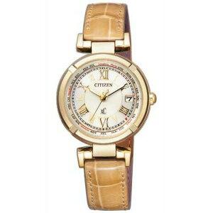 シチズンクロスシーCITIZENXCエコドライブ電波時計ティタニアラインハッピーフライトゴールドワニ革レディース腕時計EC1115-08A