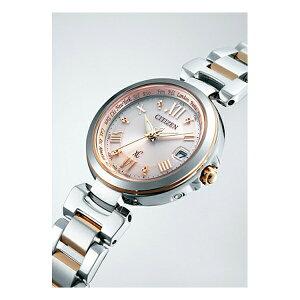 シチズンクロスシーCITIZENXCエコドライブ電波時計ハッピーフライトシルバー×ピンクレディース腕時計EC1034-59W
