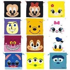 ミッキー、プーさん、スティッチなどの大判巾着!【大判サイズ ディズニー 顔柄巾着袋】【RCP...
