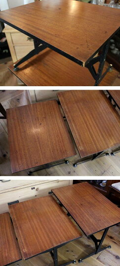 ヴィンテージアイアンレッグネストテーブル/サイドテーブル