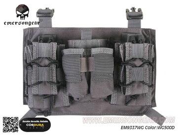 EMERSON製 3連 Modular assaulters マガジンポーチパネル マグポーチ 1インチバックル (Wolf Grey WG ウルフグレー 500Dナイロン生地)