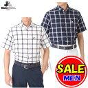 【50%OFF!セール】ブラック&ホワイト / ブラック アンド ホワイト(春夏モデル!)半袖チェックシャツ/(メンズ)ゴルフウェア/レターパック選択可! - STAGE ONE