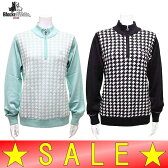 【50%OFF!セール】ブラック&ホワイト / ブラック アンド ホワイト(BLUE LABEL)秋冬モデル!ハーフジップアップセーター/長袖セーター (レディース)ゴルフウェア/15K
