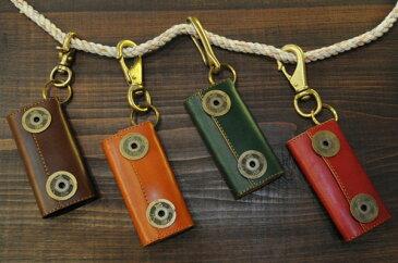 真鍮 フック付 古銭 レザー キーケース 6連 スマート ヌメ革キーケース アンティーク ギフト プレゼント