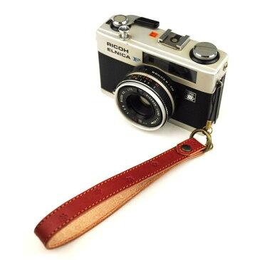 小梅柄 ヌメ革 カメラ ハンドストラップ 和柄 レザー