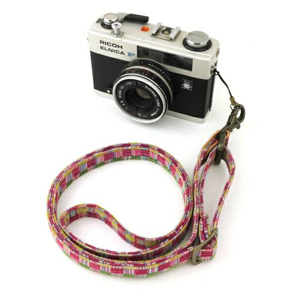 和柄カメラネックストラップ【12桃織】アンティーク着物で製作したレトロなネックカメラストラップ!