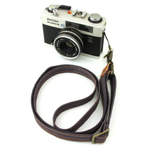 和柄 カメラ ネックストラップ 18 紫縞波 アンティーク 着物 レトロ ネックカメラストラップ デジカメ コンデジ スマホ 敬老の日