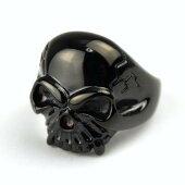 【髑髏柄リング!真鍮ブラック】黒いドクロが渋くサイズも豊富な激安リング!!手元のアクセントに最適な指輪です!
