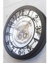 【アンティークグランドウォールクロックRoute66】ミラー・アメリカン・ナチュラル壁掛け・かわいい・可愛いルート66・時計・アンティーク