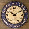 【ウォールクロックカフェツアー】カントリー雑貨・アメリカン・ナチュラル壁掛け・かわいい・可愛いプレゼント・時計・ホワイトアンティーク・星条旗