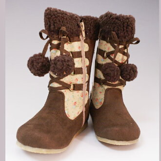 Immediate SALE ★ red kids ' popular セサミクラブ children's boots Bonbon with fluffy × notions adhesive boots