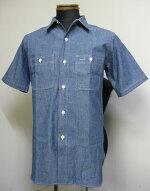 WAREHOUSEウェアハウスLot3080半袖シャンブレイ・ワークシャツS/SCHAMBRAYWORKSHIRTS-NONWASHBLUE