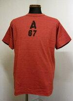 ウェアハウス(WAREHOUSE)Lot4601A67パイピングネック半袖シャドウボーダーTEEシャツ-杢グレイ