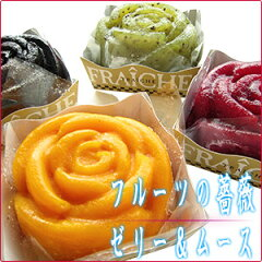 ストロベリー・キウイ・マンゴー・ブルーベリーの4種類のひんやりデザートが咲きました♪菓子工...