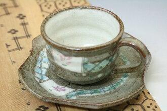 手製的咖啡杯/輕的咖啡杯/農產品咖啡碗盤子/美濃焼手描來咖啡碗盤子/tsurubami帶繪畫/utsuwano翔山
