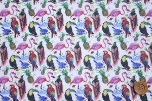 リバティプリント【ラミネート加工】589(BirdsofParadiseバーズ・オブ・パラダイス)レッド【3637173・17A】