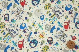 リバティプリントタナローン【ラミネート加工】(Eliza'sOwlsイライザス・オゥルス)ブルー【11-3631188・11A】