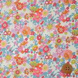 リバティプリント タナローン(Floral Waltz フローラル・ワルツ)レッド&オレンジ【19-3639107・19AT】