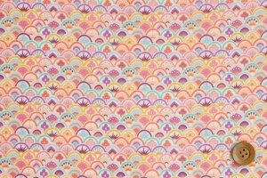 リバティプリントタナローン【ラミネート加工】(Prosperityプロスペリティ)ピンクオレンジ【19-3639108・19AT】