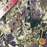 リバティプリント【フランダースリネン】437(Witleyウィットリー)グレー&バイオレット