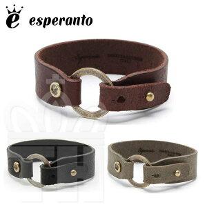 エスペラント esperanto 日本製 イタリアレザー ブレス バングル 革 プエブロレザー アンティーク コイン レザーブレスレット アクセサリー メンズ レディース フリーサイズ ESP-6143