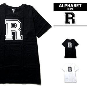 ALPHABET Tシャツ デザインR 2カラー アルファベットTシャツ【ストリート系Tシャツ メンズ レディース ダンス、イベント 舞台 イベント かわいいTシャツ 白 デザインTシャツ パ 半袖 レディース トップス おもしろTシャツ ロゴT】abt018