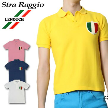 【LENOTCH】ワッペン付ポロシャツ メンズ 2カラー 綿100% 白/黄色/ピンク/ネイビー XS-M【細身 ポロシャツ メンズ お兄系 半袖ポロシャツ POLOシャツ ポロシャツ 半袖 お兄系 キレイ目】