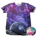 SPACE9 デザインTシャツ SPACE 宇宙 メンズ 夏用 コットン100% M-L【グラフィックTシャツ メンズ デザインTシャツ クラブファッション ストリート系 アニマルプリント 動物プリント】