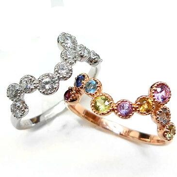【セミオーダー】【カラーストーンとダイヤモンドの2種類から選べる】ジグザグデザインエタニティリング 指輪 レディース ニッケルフリー 10金 ゴールド 地金カラー 1号から20号 yk-99 yk-101 ユニーク ジュエリー