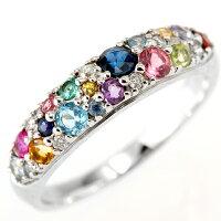ホワイトゴールドK10WGピンクゴールドK10PGマルチストーンダイヤモンド/ルビー/サファイアリング指輪512267512266