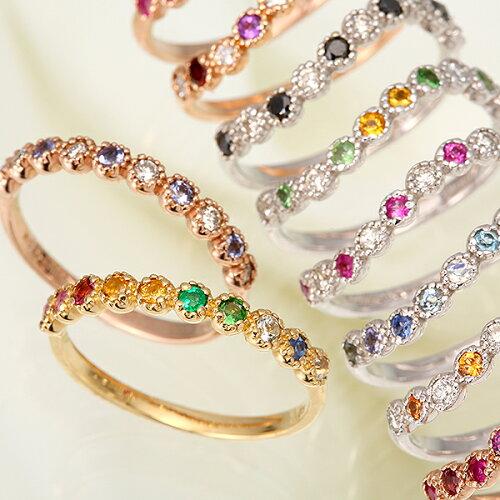 指輪 リング ファッションリング オリジナルオーダーメイド K10(10金) K18(18金) 天然石 10石 組み...