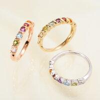 誕生石が選べるK18PG/WG/YG18金ピンクゴールド/ホワイトゴールド/イエローゴールドベビーリングリング指輪誕生日プレゼントギフトyk-138A