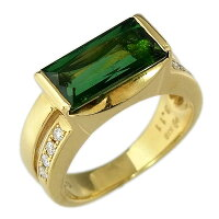【田崎/TASAKI】K18グリーントルマリン指輪ファッションリングTL3.11ct/D0.11ct/7.5g/9号【中古】