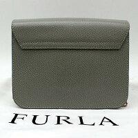 【FURLA】フルラチェーンポシェットバッグレザー/グレー系【中古】