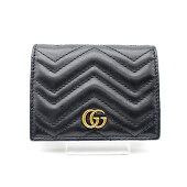 【GUUCI】グッチGGマーモントシェブロンキルティングレザーカードケース443125/ブラック【中古】