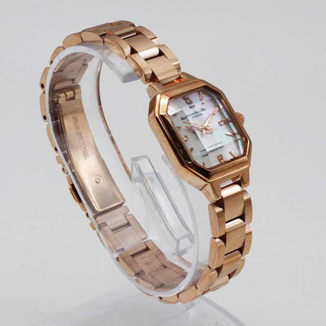 Alessandra Olla/アレッサンドラオーラカットガラス レディース腕時計AO-3550-1ピンクゴールド×ホワイトシェル 新品