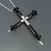 ★【ファッションネックレス】K18WGブラックダイヤクロスペンダント付ネックレスD3.00ct/15.4g【中古】送料込