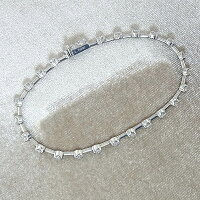 ★LINEK18WGダイヤモンドテニスブレスレットD1.25ct/7.6g【中古】送料込