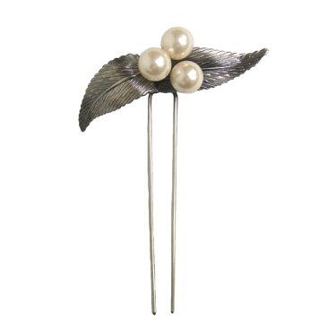 かんざし 簪 ヘッドドレス ヘアーアクセサリー 和装 髪飾り 花しおり「葉に南天 銀」