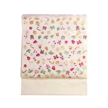 名古屋帯 正絹 西陣織 クリスマス 白 「ツリー飾り」 クリーム