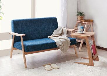 【送料無料】タモ無垢材フレームの高級2Pソファー ファブリック ブルー グリーン ブラウン 北欧風 完成品 木肘ソファー 2人掛けソファー