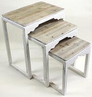 【送料無料】アンティーク調サイドテーブル3個セットバロックウッドホワイトテーブルS/3