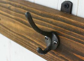 ヴィンテージ風ウォールラック3連アイアンフックシャビーオシャレアンティーク調壁掛けフック