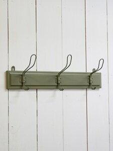 ウォールフック 3連 グリーン アンティーク3フック グリーン 壁掛けフック