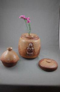 F-3伊羅保釉大長仏3変化花器壺付き骨壷阿弥陀如来座像付き7号壺として花器としてお花を生けて楽しむ。お花を生けるときは仏様は後ろに向けて!