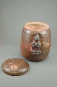 焼締大長仏3変化花器壺付き骨壷阿弥陀如来座像付き7号壺として花器としてお花を生けて楽しむ。お花を生けるときは仏様は後ろに向けて!
