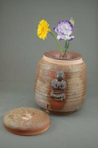 H-2-1焼締大長仏2変化花器付き阿弥陀如来座像付き骨壷7号花器としてお花を生けて楽しむ。お花を生けるときは仏様は後ろに向けて!